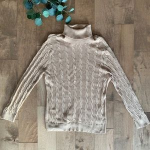 Lands End Cable Knit Tan Turtleneck Sweater